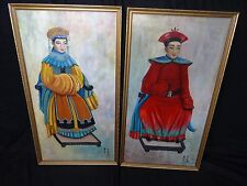 Pair Large Signed Oil On Board Gilt Framed Paintings Of A Lady Gentleman Samurai