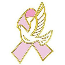 Breast Cancer Awareness Lapel Pin Pink Ribbon White Hope Dove Gold Plated New