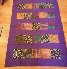 "Purple Wide Border Hand Died Batiks, Quilt top  74x51""Hand made"