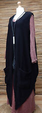LAGENLOOK OVERSIZE KNIT LONG TUNIC/OVERDRESS/JUMPER/TABARD*BLACK*OSFA L-XL-XXL