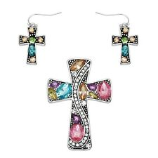 Cross Pendant Earrings Set Chunky Crystal Rhinestones MULTI Religious Jewelry
