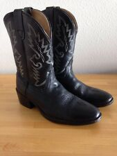 Childs Dan Post Black Leather Cowboy Boots Size 3 Style Shane DPC-2001