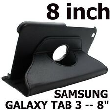 Samsung Galaxy Tab 3 (8 inch) - PU Leather 360 Rotating Stand Case Cover BLACK