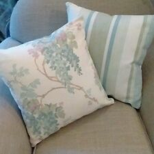 One Laura Ashley Wisteria Pistachio Green/Duck Egg &Stripe Fabric Cushion Cover