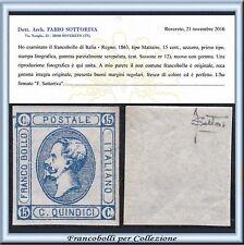 1863 Italia Regno Litografico I° tipo c. 15 n. 12 Certificato Nuovo Integro **