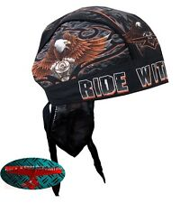 RIDE WITH PRIDE Bandana Kopftuch Headwrap Biker Chopper Cap V2 Eagle Harley US