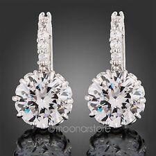 18k Gp chiaro cristallo Swarovski zirconi Cz orecchini in oro bianco nuove donne