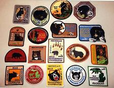 MICHIGAN DNR BEAR HUNTER PATCHES (1986-2006) (18 DIFF PATCHES) - DEER-TURKEY-ELK