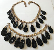 EARLY VINTAGE MIRIAM HASKELL DANGLING BLACK BAROQUE BEAD BOOKCHAIN NECKLACE SET