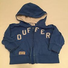 Duffer Blue Zip Up Hoodie Jumper Top Baby Boys 3-6 Month