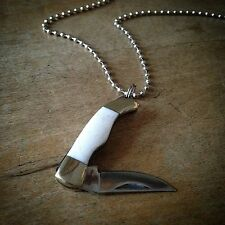 Bone Knife Pendant Necklace, Mini Minature Folding Pocket Steel Charm 1 1/8""
