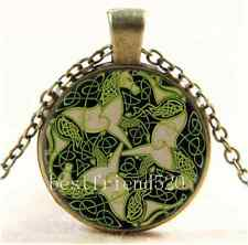 Vintage Celtic Horse Photo Cabochon Glass Bronze Chain Pendant Necklace