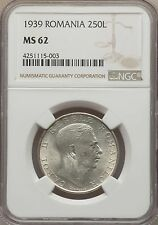 1939 Romania Silver 250 Lei NGC MS62 undervalued in high grades