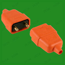 10A Orange Outdoor 2 Pin Cable Wire Lead Coupler Male & Female Socket Connecter