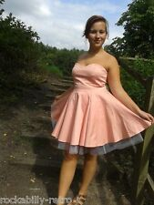 peach back to the future style 50s look dress with net underskirt petticoat 14