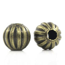 200pcs Bronze Tone Metal Spacer Beads Pumpkin Round 6mm
