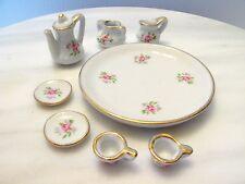 Vintage ? Gold Rim Miniature Dollhouse Tea Coffee Cup Pot Platter Serving Set