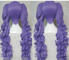 New wig Cosplay Kamui Gakupo eggplant Curly Purple Heat Wig + Two On Ponytails