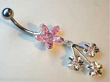 12mm/6.5mm Hawaiian Sterling Silver Plumeria Pink CZ and 3 Fan Flower Belly Ring