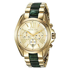 Brand New Michael Kors Women Oversize Gold BRADSHAW Green Acetate Watch MK6397
