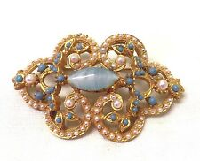 Vintage 1960's Faux Pearl And Tourquise Brooch Pin