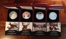 2014 SET of 4 Silver Canadian $20 White-Tailed Deer coins, 1 oz each, 7500 made