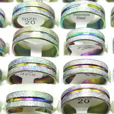 New 10Pcs Stainless Steel Rainbow Color Lines Scrub Rings Free Shipping T1