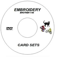 NEW EMBROIDERY DESIGNS BROTHER CARDS 1- 66 ON CD / DVD DISC PES / PEC