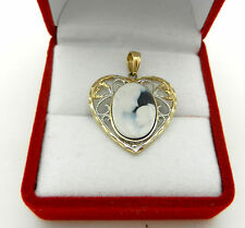 """Real 10K Yellow Gold HEART CAMEO """"Mother & Child"""" Charm Pendant BEAUTIFUL"""
