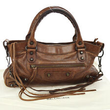Auth BALENCIAGA THE FIRST Editor's 2way Hand Bag Brown Leather Vintage JT05144b