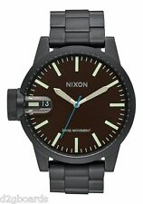 New 2015 Nixon Watch Chronicle SS 48.5mm All Black / Brown Womens Mens TX101