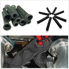 8X Car SUV Spark Plug Wire Boot Heat Protector Manifold Cover Thermo Wrap Black