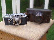 Vintage Leica DBP Ernst Leitz GMBH Wetzlar Camera Elmar 1:3.5 F=50mm Lens & Case
