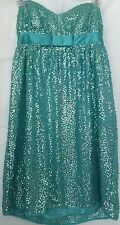 BETSEY JOHNSON Sz 4 Dress Turquoise Sequined Strapless Short Party Homecoming