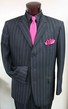 38 R Black White Stripe Suit Tuxedo Gangster Prom Tux  Zoot Coat
