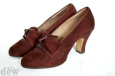 original 1940's BURGUNDY LEATHER SUEDE heels BOW FRONT WW2 BLITZ size UK 2 1.5