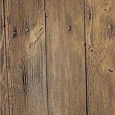"Vintage Brown Washed Faux Wood with Knots PVC Wallpaper 20.5""x394""/Volume G"