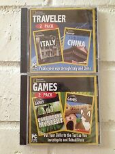 set of 4 national geographic puzzle adventure computer games on 2 cd-roms - new