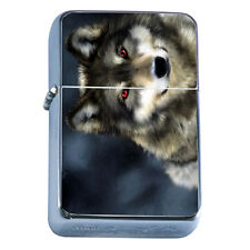Windproof Refillable Flip Top Oil Lighter Wolf D8 Wilderness Animal Dog Hunter