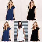 Women Short Sleeve V-Neck Loose Chiffon Shirt Top Blouse Short Mini Beach Dress