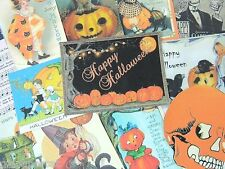 12 Pc. Set VINTAGE HALLOWEEN GREETINGS DIE CUTS 4 CRAFTS | H55 | Old Paper Cat