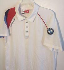 BMW Motorsport Puma Short Sleeve Polo Golf Shirt White, Blue Red Men's XL