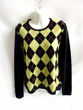100% Cashmere Sweater Size M Black Neon Green Argyle Scoop Neck Mc Duff 42 Chest