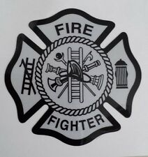 WHITE/BLACK Reflective Vinyl Decal Fire Dept maltese cross firefighter sticker
