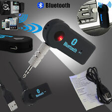 Wireless Bluetooth 3.5mm Car Aux Audio Stereo Music Receiver Adapter Mic For PC
