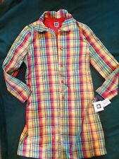 ANNE KLEIN PLAID colorful/orange fall/spring 8 TRENCH COAT/long jacket NWT $169