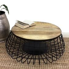 TITAN INDUSTRIAL COFFEE TABLE WINE SIDE LAMP TIMBER TOP METAL ROUND DECOR BLACK