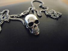 "HIGH quality UNIQUE detailed solid silver  skull pendant w/ 27"" necklace."