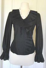 Oscar by Oscar de la Renta  Button Down Black Silk Shirt~ SZ-6P~Pleated Accsent~