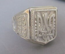 Mens Sterling Silver 935 Ring Size 10.5,Ukrainian Trident Tryzub, Volia/Freedom